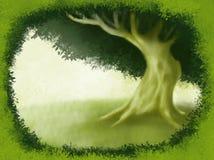 Eenzame Boom met Groene Grasgrenzen die Kunstwerkillustratie schilderen Royalty-vrije Stock Foto's