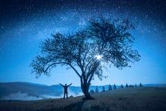 Eenzame boom onder de nachthemel Stock Foto
