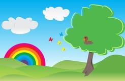 Eenzame boom op het groene gebied Stock Foto's