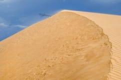 Eenzame die boom in het midden van een woestijn door blauwe hemel wordt omringd Royalty-vrije Stock Foto's