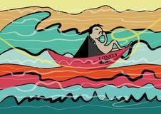 Eenzame die mens aan oceaanbeeldverhaalillustratie wordt gevaren Royalty-vrije Stock Afbeeldingen