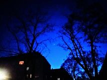 Eenzame die ster door naakte bomen en huizen wordt omringd royalty-vrije stock foto
