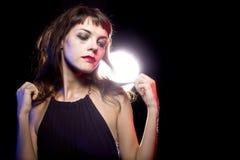 Eenzame Gedronken Vrouw bij een Nachtclub stock afbeelding