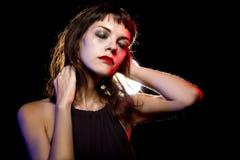 Eenzame Gedronken Vrouw bij een Nachtclub royalty-vrije stock foto