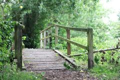 Eenzame houten brug Stock Fotografie
