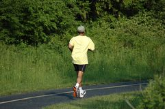 Eenzame jogger royalty-vrije stock afbeeldingen