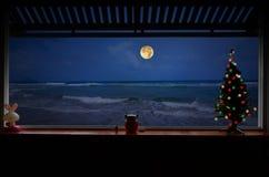 Eenzame Kerstnacht naast het strand stock afbeelding