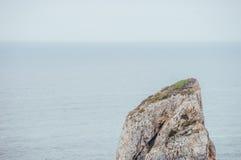 Eenzame klip in de ochtendmist over de oceaan Royalty-vrije Stock Foto