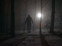 Eenzame mens in de mist bij nacht stock afbeeldingen