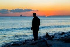Eenzame mensenkust Stock Foto's