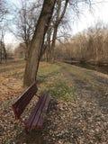 Eenzame Parkbank door de rivier Royalty-vrije Stock Foto