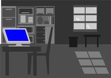 Eenzame personal computer in donkere ruimte Stock Afbeelding