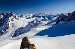 Eenzame skihelling in de bovenkant van Franse Alpen Beste plaats voor het ski?en in Chamonix Mont Blanc stock afbeeldingen
