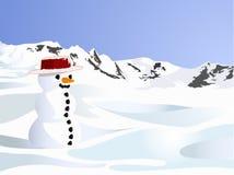 Eenzame sneeuwpop op de sneeuwheuvel Royalty-vrije Stock Afbeelding
