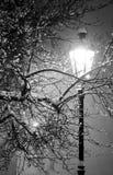 Eenzame straatlantaarn op de winternacht Stock Foto's