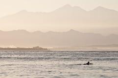 Eenzame surfer bij dageraad Royalty-vrije Stock Afbeeldingen