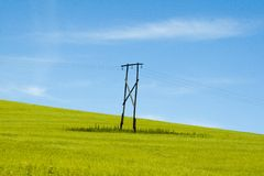 Eenzame telefoonpool in land Royalty-vrije Stock Foto's