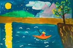 Eenzame visser - gouache schilderen gemaakt door kind stock illustratie