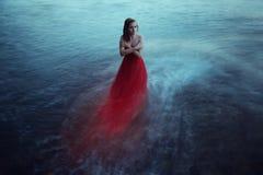 Eenzame vrouw dichtbij het overzees stock fotografie