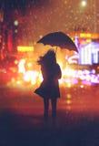 Eenzame vrouw met paraplu in nachtstad vector illustratie