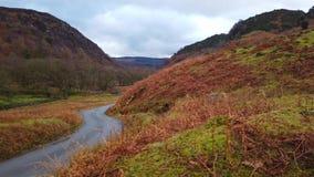 Eenzame weg door het Nationale Park van het Meerdistrict in Engeland stock videobeelden