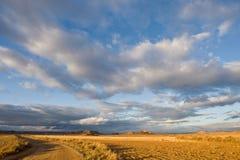 Eenzame weg onder bewolkte hemel stock afbeeldingen