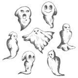 Eerie and danger Halloween ghosts. Flying eerie and danger Halloween ghosts or ghouls, for seasonal or religion design stock illustration