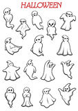 Eerie flying Halloween ghosts and monsters. On white background for party and holiday theme design royalty free illustration