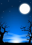 Eerie halloween night background with a full moon Royalty Free Stock Images