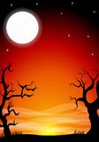 Eerie halloween night background with a full moon Stock Photos
