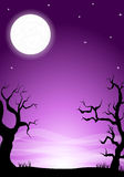 Eerie halloween night background with a full moon Stock Images