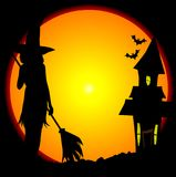 Haloween Witches House. Eerie Halloween scene with moon and witches house Royalty Free Stock Photo