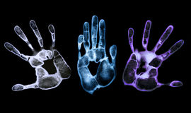 Eerie Hand Prints. Finely detailed hand-prints on black background Royalty Free Stock Image