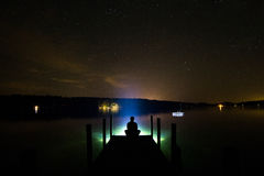Eerie Lake Lights Stock Image