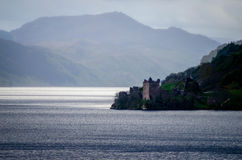 Eerie Ness. Urquhart Castle on the banks of Loch Ness, Scotland Stock Photography