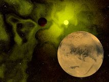 Eerie planet and space. Surreal view of planet and sun in the universe far, far away vector illustration