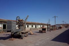 Humberstone Saltpeter Worksm in northern Chile. An eerie street in the abandoned Humberstone saltpeter works. This abandoned nitrate town was extremely important royalty free stock photos