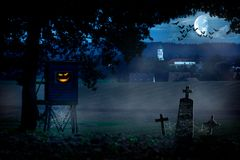 Eerie village landscape. With monsters in the hunter, tombs, moon and bats stock illustration