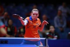 EERLAND Britt backhand. EERLAND Britt from Nederlands backhand. 2017 European Championships - 1/4 Final. Luxembourg Stock Photos