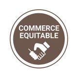 Eerlijk handelsteken en etiket geroepen handel billijk in Franse taal stock illustratie