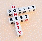 Eerlijkheids beste beleid stock fotografie