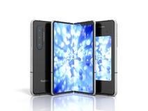 Eerst geeft de periodieke flexibele 3d telefoon op witte achtergrond terug royalty-vrije illustratie