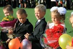 Eerste bezoek in de school - 1 September, 2009 royalty-vrije stock afbeelding