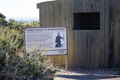 Eerste Boswachterscontrolepost in Punta Loma, Argentinië Royalty-vrije Stock Foto