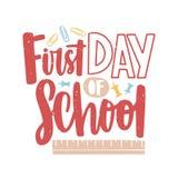 Eerste Dag van School van letters voorzien die die met kalligrafische die doopvont wordt geschreven en door paperclippen, verspre stock illustratie