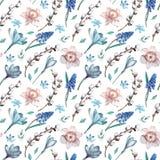 Eerste de lentebloemen en wilgentakken Waterverf naadloos patroon op witte achtergrond stock illustratie