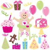 Eerste de verjaardagspartij van het meisje van de baby Stock Afbeeldingen