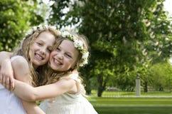 Eerste Heilige Communie - gelukkige dag Stock Foto's