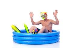 Eerste het zwemmen les stock afbeelding