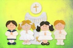 eerste kerkgemeenschapkaart, een groep kinderen Stock Foto's